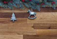 Christmas background. Christmas tree with retro ceramic ornaments on wooden background royalty free stock images