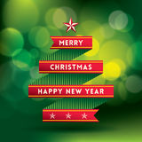 Christmas Background with tree shape ribbon Royalty Free Stock Image