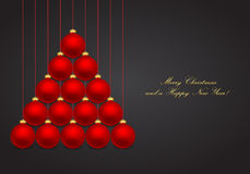 Christmas background. With tree-shaped hanging balls Stock Images