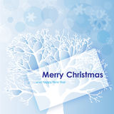 Christmas Background with tree and snowflake Royalty Free Stock Photography