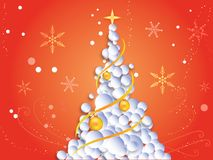 Christmas background with christmas tree, snowflakes Stock Photography