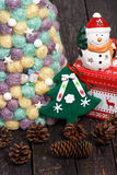 Christmas background with tree on wooden table. Christmas background with Christmas tree on wooden table Stock Photos