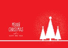 Christmas background with trees and decorative text. Design royalty free illustration