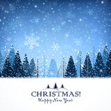 Christmas background with trees. And snowflakes night Stock Image