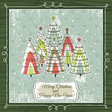 Christmas background with trees, vector Stock Photos