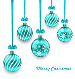Christmas Background with Turquoise Glassy Balls Royalty Free Stock Image