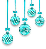 Christmas Background with Turquoise Glassy Balls. Illustration Christmas Background with Turquoise Glassy Balls  on White Background - Vector Royalty Free Stock Images