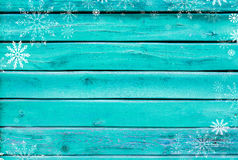 Christmas background of turquoise old painted boards Royalty Free Stock Images