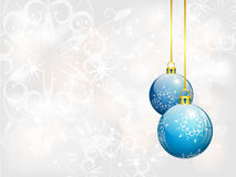 Christmas background with two blue balls Royalty Free Stock Images