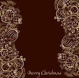 Christmas  background with two golden garland Stock Photos