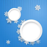 Christmas background with two round frames and snowflakes Royalty Free Stock Images
