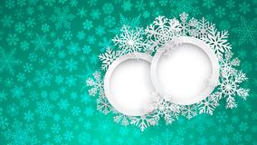 Christmas background with two round frames and snowflakes Stock Photos