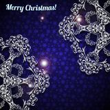 Christmas background with two snowflakes. Christmas background with two large snowflakes in the corners. Vector illustration Royalty Free Stock Photography