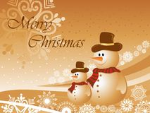Christmas background with two snowman Stock Photos