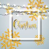 Christmas Background with Typography and Shiny Glittered Snowflake and Holiday Light Garland on White Background. Vector. Holiday Illustration for Premium Stock Photos