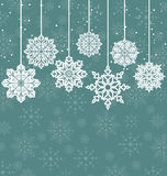 Christmas background with variation snowflakes Stock Photo