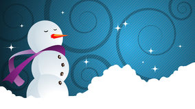 Christmas background vector. Snowman for your message.Place your text in the snow Royalty Free Stock Photos