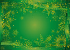 Christmas background,vector. Green christmas background with many different snowflakes,vector illustration Stock Photos