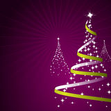 Christmas Background (Vector). Illustration of a christmas background with trees made of stars on purple Royalty Free Illustration
