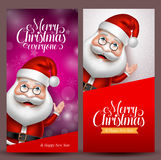 Christmas background and vector banners with santa claus. Waiving hand in colorful background for christmas greetings. Vector illustration Royalty Free Stock Images
