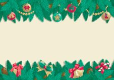 Christmas background. Vector card of christmas fir tree with Christmas decorations and cone on abstract background Stock Image