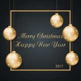 Christmas background . vector illustration of merry christmas an. D happy new year 2017 gold and black collors place for text christmas balls Royalty Free Stock Images