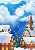 Christmas background. Vector illustration. Christmas village Royalty Free Stock Image