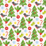 Christmas background, vector seamless pattern. With christmas elements Royalty Free Stock Images