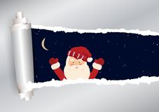 Christmas background in vector. Torn paper with sky and Santa Claus in Stock Photo