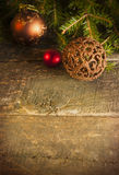 Christmas background with vintage decorations. On timeworn wooden table stock images