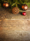 Christmas background with vintage decorations. On timeworn wooden table stock photography