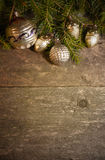 Christmas background with vintage decorations. On timeworn wooden table stock photo