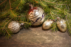 Christmas background with vintage decorations Royalty Free Stock Image