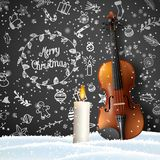 Christmas background with violin, candle and doodles royalty free illustration