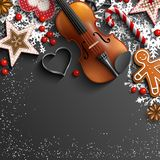 Christmas background with violin, ornaments and snowflakes royalty free illustration
