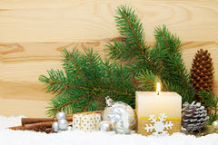 Christmas background. Christmas background with white advent candle Stock Images