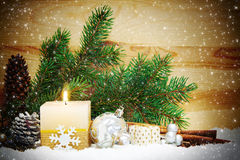 Christmas background with white advent candle. Stock Photo