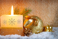 Christmas background with white advent candle. Stock Images