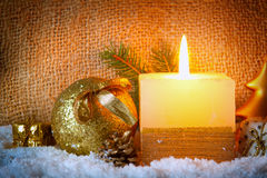 Christmas background with white advent candle. Stock Photography