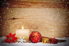 Christmas background with white advent candle. Stock Photos