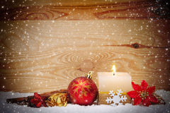Christmas background with white advent candle. Royalty Free Stock Photography