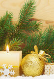 Christmas background. Christmas background with white advent candle,snowfall Royalty Free Stock Photos