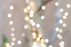 Christmas background white bokeh. White Christmas background bokeh. Christmas lights Stock Photo