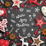 Christmas background with white doodles and decorations royalty free illustration