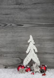 Christmas background in white, grey and red with tree, reindeer Stock Photography