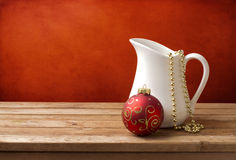 Christmas background with white jug and christmas Stock Photography