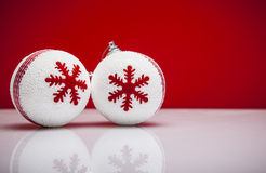 Christmas background with a white ornament Stock Images