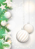 Christmas background with white ornaments and branches Royalty Free Stock Photo