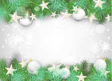 Christmas background with white ornaments and branches Stock Photography