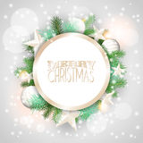 Christmas background with white ornaments and branches Stock Image